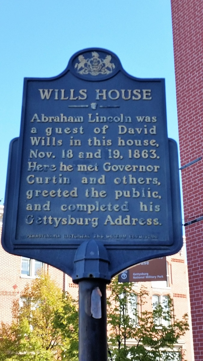 David Wills House marker - Gettysburg - History's Homes